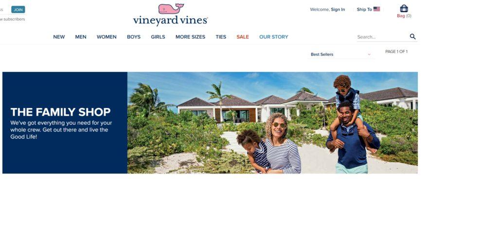 vineyardvinesのスクショ