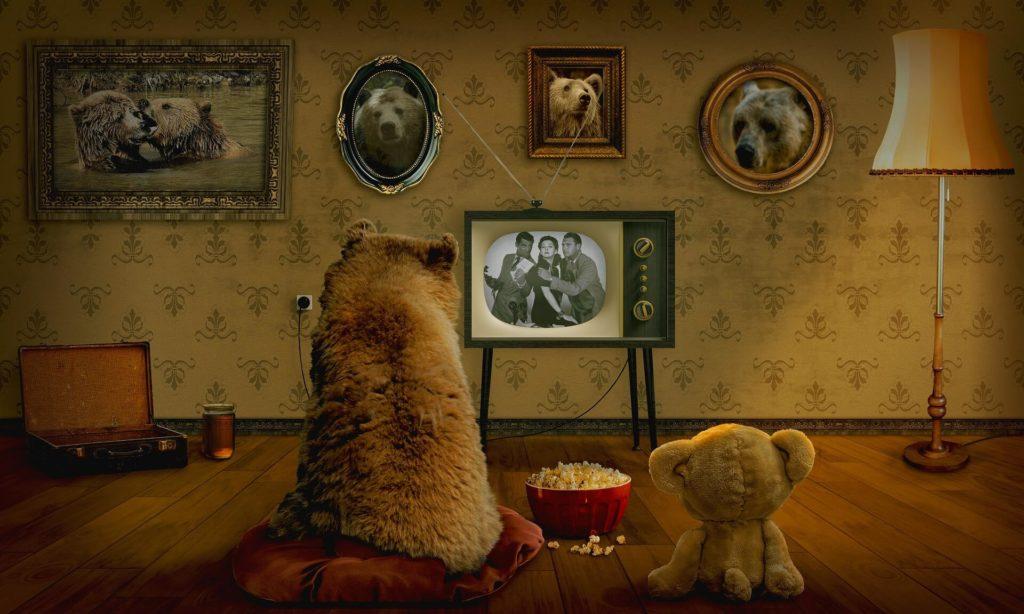 テレビを見る熊の親子